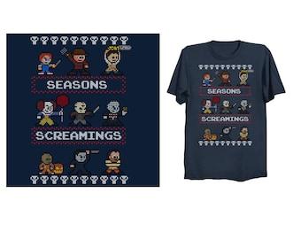 SEASONS SCREAMINGS Ugly Christmas T-Shirt Retro Style Horror Shirt Freddy Jason Michael Myers Halloween It Pennywise Chucky Pinhead 8-bit