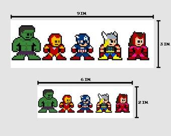 8-bit AVENGING HEROES Bumper Sticker Pixel Art