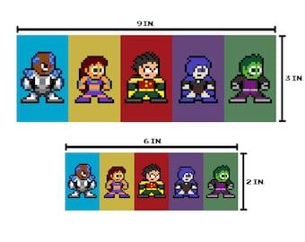 8-bit TEENAGE TITAN HEROES Bumper Sticker Pixel Art