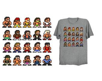 8-Bit 80s WRESTLING T-Shirt Retro Style 8bit Shirt