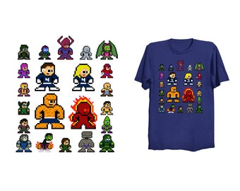 8-bit FANTASTIC HEROES T-Shirt Retro Style Shirt