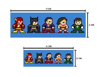 8-bit HERO LEAGUE Bumper Sticker Pixel Art