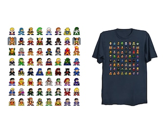 COMIC BOOK HEROES 8-Bit T-Shirt Retro Style Shirt