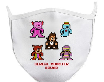 CEREAL MONSTER SQUAD 8-bit Face Mask Retro Style 8bit Pixel Art Count Chocula Franken Berry Boo Berry Yummy Mummy Fruit Brute General Mills