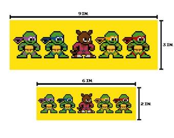 8-bit TMNT Bumper Sticker Pixel Art
