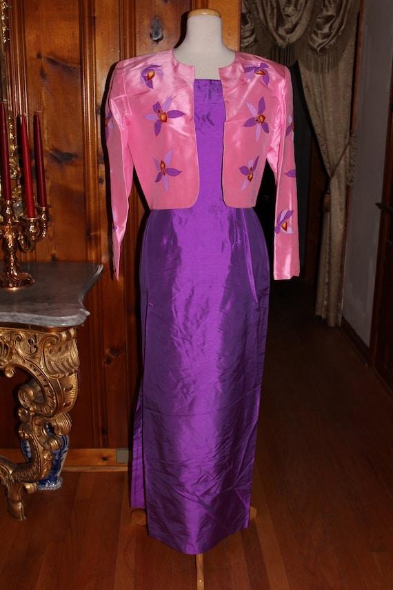 Purple Thai Silk Dress and Pink Thai Silk Jacket with Handpainted Flowers Size 12
