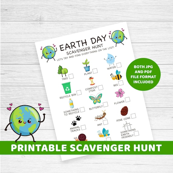 Earth Day Scavenger Hunt printable instant download Earth