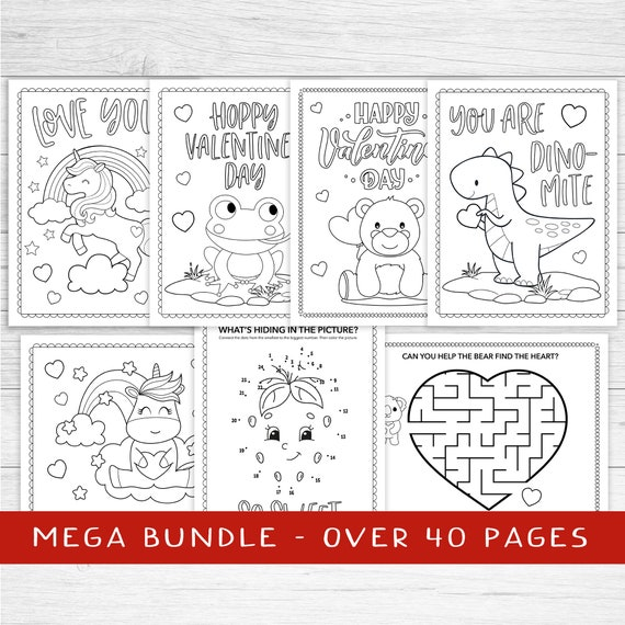 Kids Valentine coloring sheets  instant download