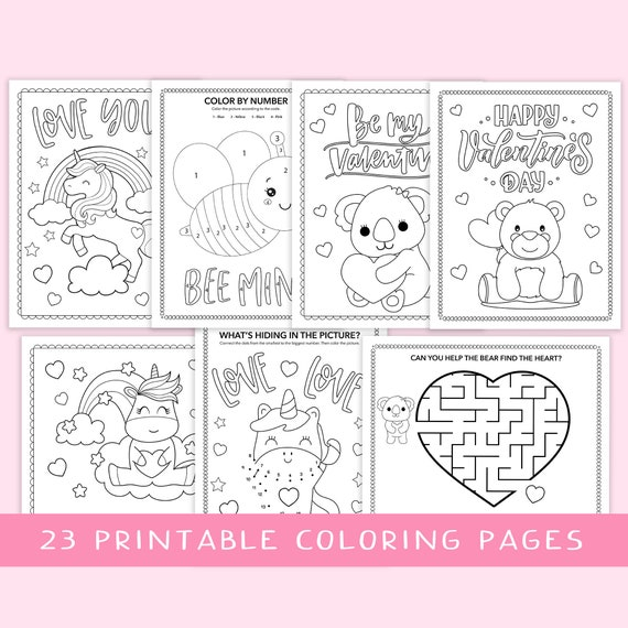 Girls Valentine Coloring Pages  instant download
