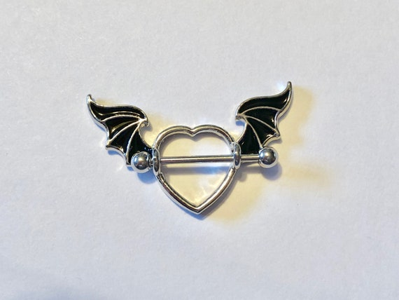 Set of 2 16g OR 14g Rose Gold HEART Nipple Shields Valentine Removable Barbell Choice of 316L Steel or Rose Gold Barbell