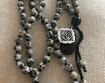 Hand Knotted Black Obsidian and Dalmation Jasper Long Necklace
