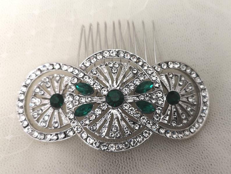 Imogen Art Deco Vintage Style Emerald Green Crystal Bridal Bridesmaid Hair Comb 1920\u2019s Wedding Prom Flapper