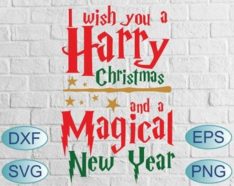 i wish you a harry christmas and a magical new year svg christmas svg harry potter svg xmas jumper hogwarts merry christmas svg potter logo