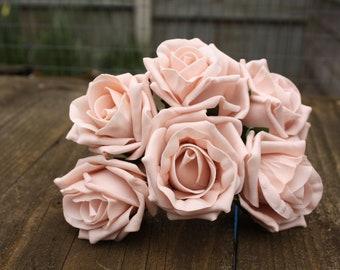 6 x LIGHT VINTAGE PINK COLOURFAST FOAM PEONY ROSES 9cm  WEDDING BRIDAL