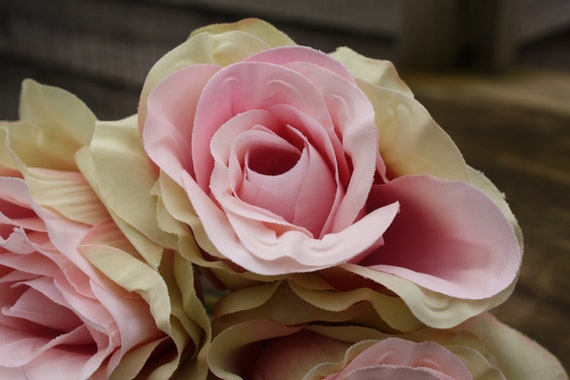7 X Vintage sombreada marfil y rosa pálido rosas de seda 7 cm atado Bunch//Pequeño Ramo