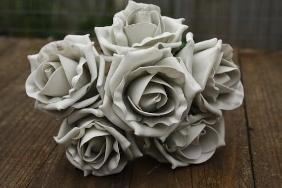 6 x VINTAGE DUSKY PEACH  COLOURFAST FOAM OPEN COTTAGE ROSES 6cm  BRIDAL WEDDING
