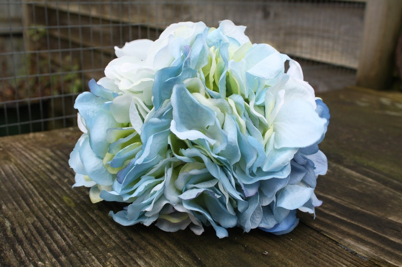 3 x Pale  Mid Blue Silk Hydrangea Flowers 12cm heads on individual wired stems