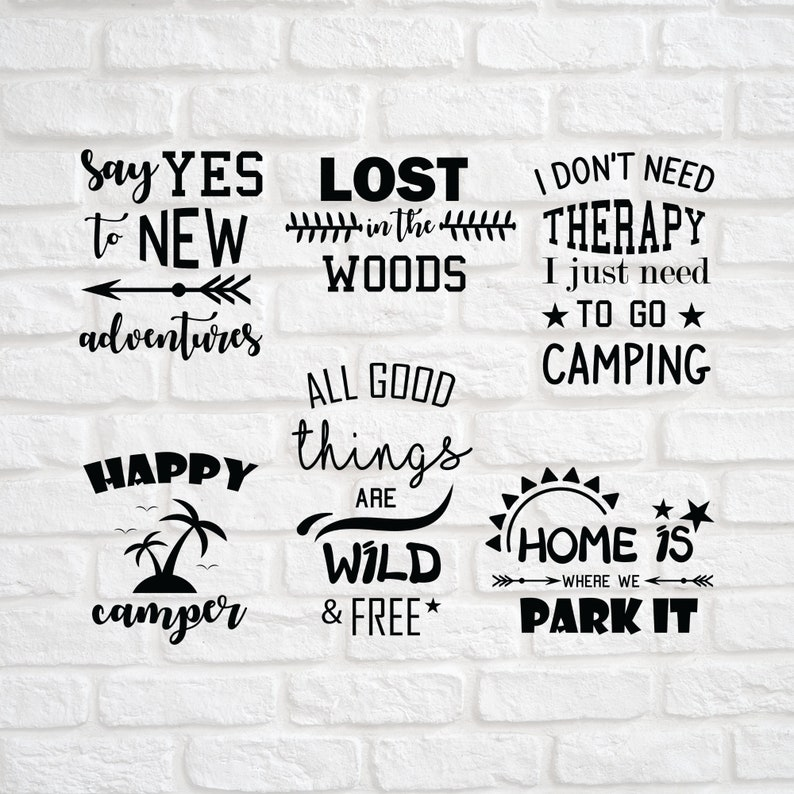 6 Camp Bundle Svg Summer Bundle Svg Camping Svg Signs Etsy