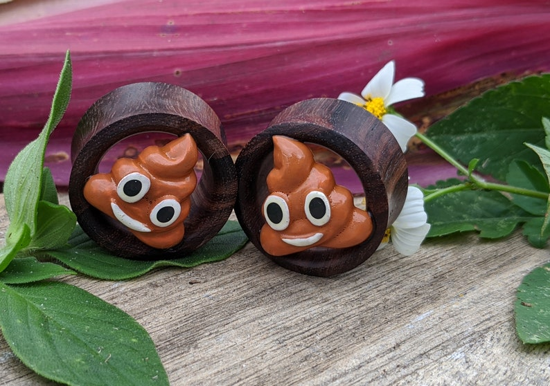 Pair Organic Hand Carved Sono Wood Double Flared Flesh Tunnels image 0