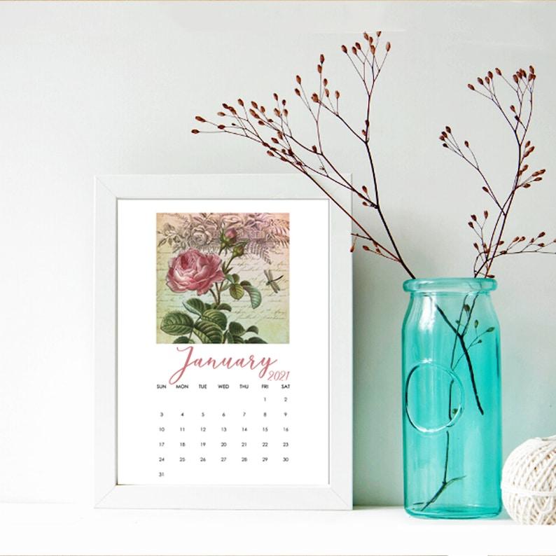 2021 Calendar Printable 5X7 Desk Calendar 12 Month   Etsy