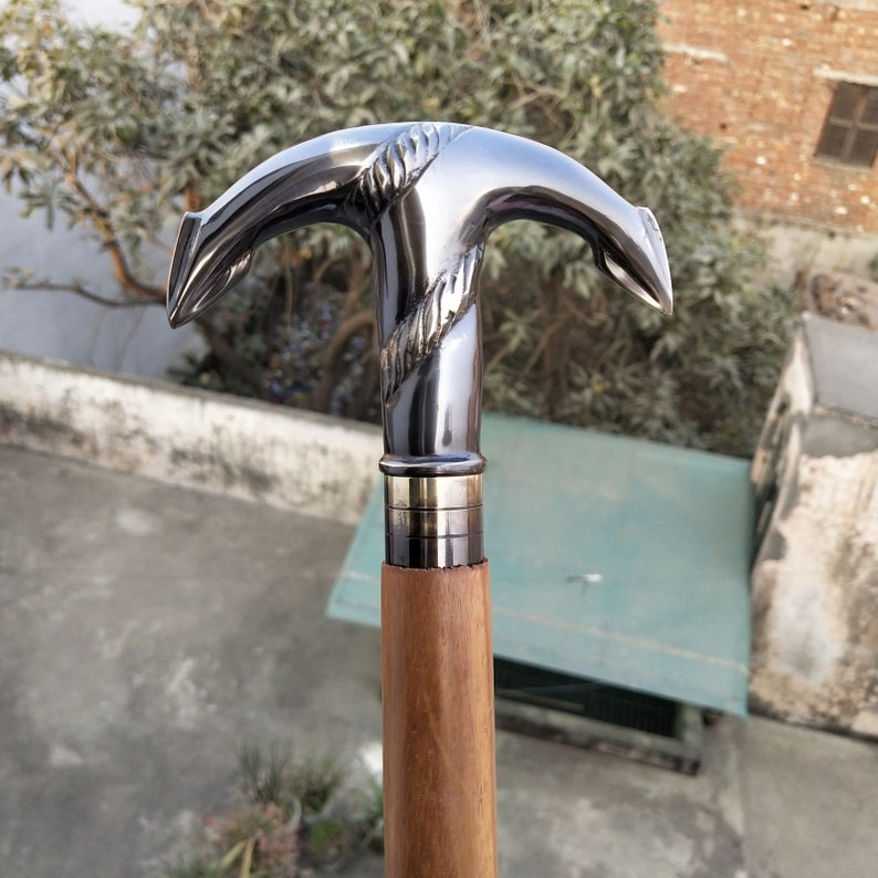 Vintage Antique Brass Anchor Handle Black Wooden Walking Stick Cane Antique Gift