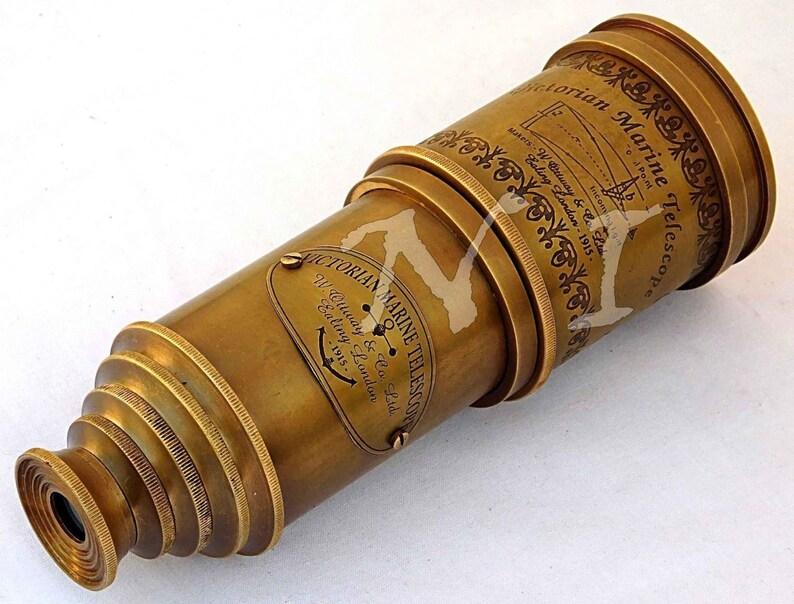 Designer brass telescope spyglass in five fold fully solid brass telescope