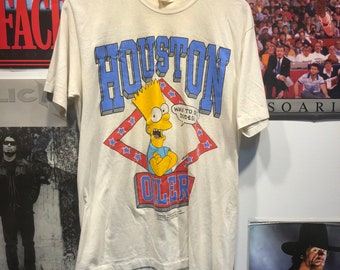 Vintage 90s Rare Bart Simpson Houston Oilers T-shirt Size Medium 73d247a7b