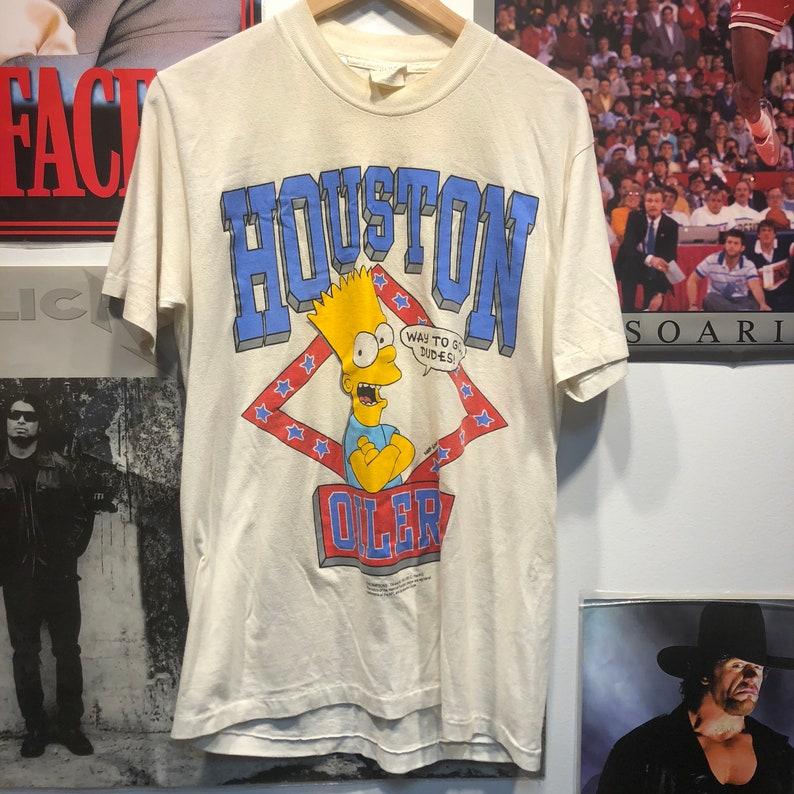 Vintage 90s Rare Bart Simpson Houston Oilers T-shirt Size  8b5c1e429