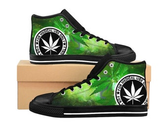 the latest 9d530 8235d WEED CANNABIS SHOES medical use hydroponics design growers womens high  tops womens hi top custom sneakers canvas trainers hipster fashion