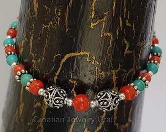 Small Bead Red Coral and Turquoise Bracelet, Croatian Filigree Ball Bracelet, Untreated Precious Mediterranean Coral, Sterling Silver