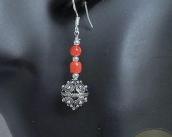 Traditional Croatian Earrings, Mediterranean Red Coral Earrings, Dubrovnik Filigree Ball Earrings, 925 Silver Dangle Hook Earrings