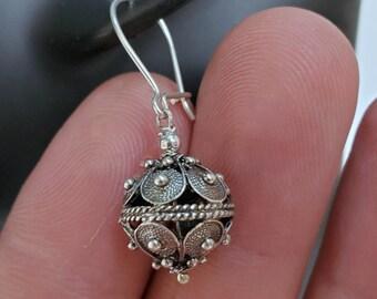 Traditional Croatian Hook Earrings, Oxidized Silver Earrings, Filigree Ball Earrings, Dubrovnik Earrings, Handmade Vintage Earrings