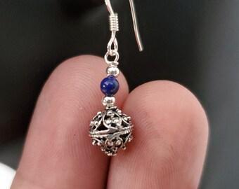 Traditional Croatian Hook Earrings, Blue Lapis Earrings, Vintage Oxidized Silver Earrings, Filigree Ball Earrings, Dubrovnik Earrings