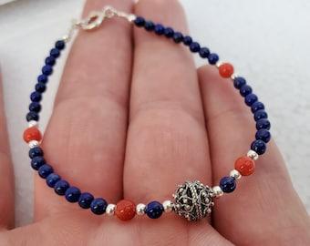 Traditional Croatian Filigree Small Bead Blue Stone Bracelet, Mediterranean Red Coral Bracelet, Dubrovnik Jewelry, Lapis Lazuli Bracelet