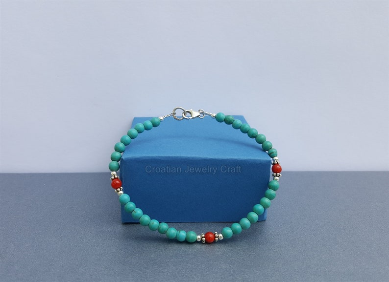 Small Round Bead Red Coral and Turquoise Bracelet Skinny Bracelet Dainty Bracelet Untreated Precious Mediterranean Coral Sterling Silver