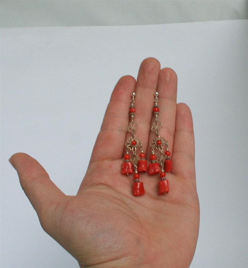 Untreated Mediterranean Coral Long Coral Earrings Rustic Boho Earrings Unique Handmade Sterling Silver Filigree Metalwork Earrings