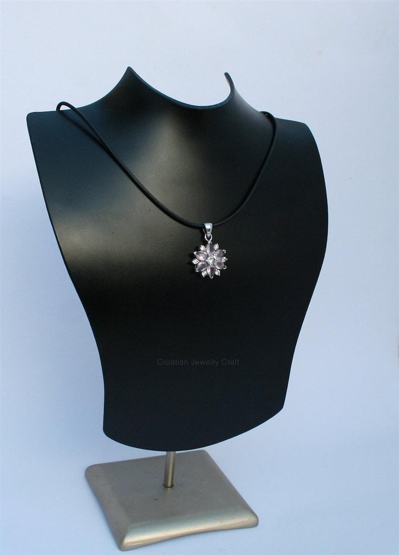 Flower Shaped  Rose Quartz Pendant w White Zircon Genuine Gemstone Pendant Rose Stone Pendant Rose Gemstone Sterling Silver Pendant