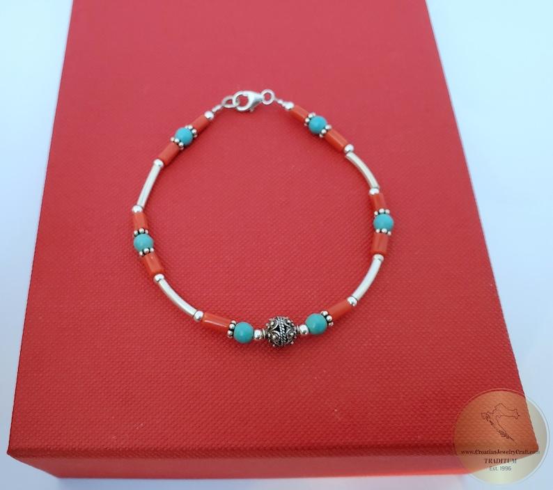 Mediterranean Red Coral & Dubrovnik Filigree Ball Bracelet ...