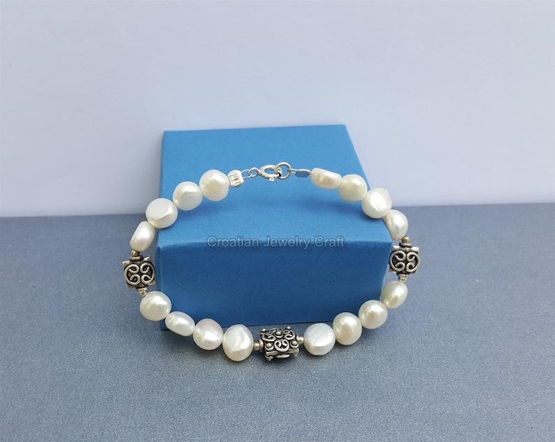 Natural Freshwater Pearl Bracelet Simple Pearl Bracelet Floral Bracelet White Pearl Bracelet Beaded Pearl Bracelet 925 Silver Bracelet