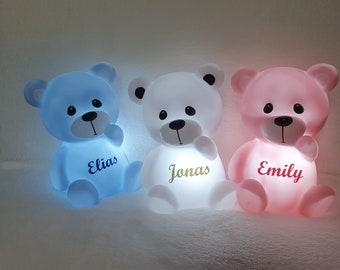 Personalized night light teddy bear.