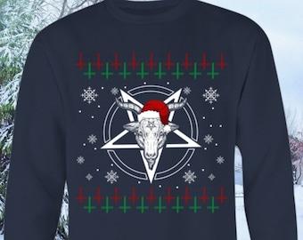Satanic Christmas Sweater.Baphomet Ugly Sweater Satan Ugly Christmas Sweater Devil Etsy