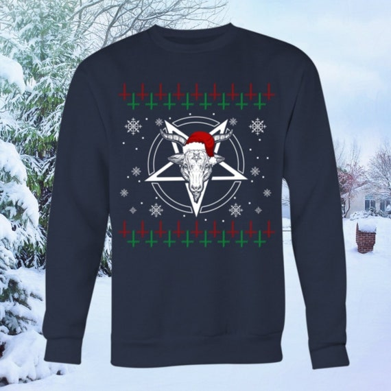 Satanic Christmas Sweater.Baphomet Ugly Christmas Sweater Funny Gothic Satanic Sweatshirt With Inverted Pentagram 666 Hail Satan Heavy Metal Sweater Pullover