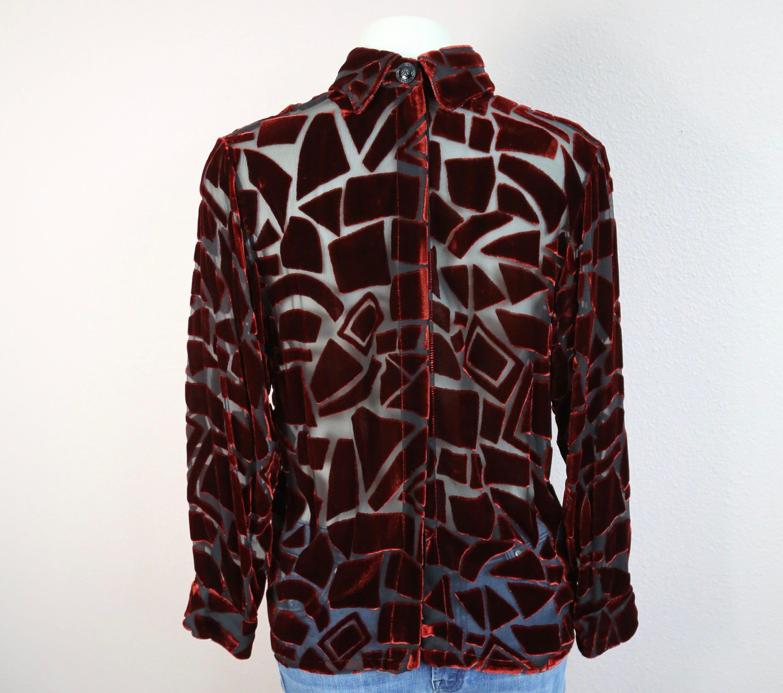 Chemise vintage des années 90 Gianni Versace en velours de soie soie de  Burnout 0c19d7 f60135a9299