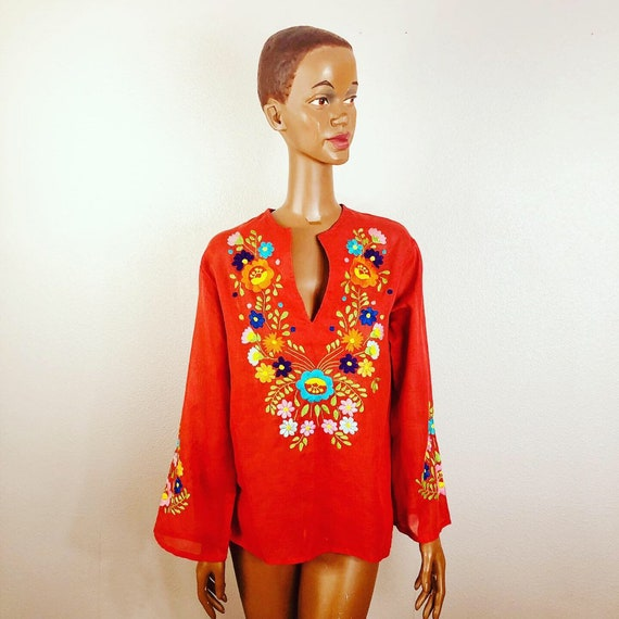 Vintage 70s Colorful Embroidered Tunic
