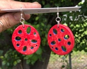 Porcelain Lotus Root Earrings Red/Blue