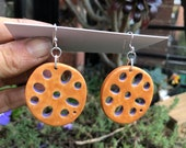 Porcelain Lotus Root Earrings Orange/Purple