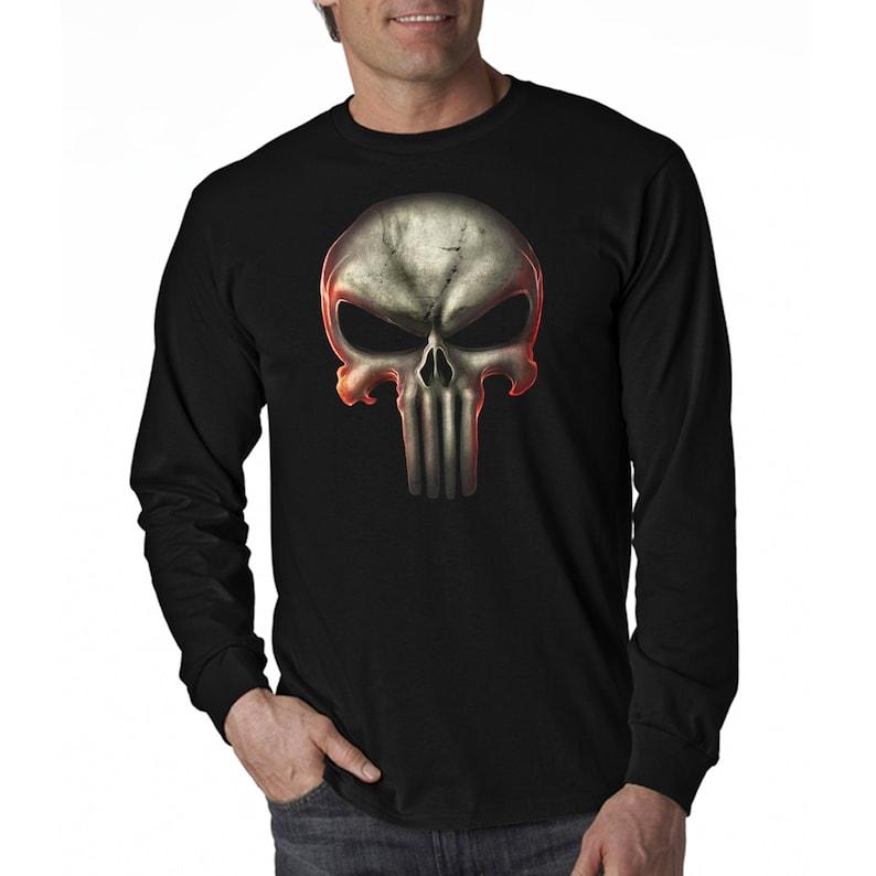 9fbb4d3e4 Skull 3D Graphic Long Sleeve T-Shirt | Etsy