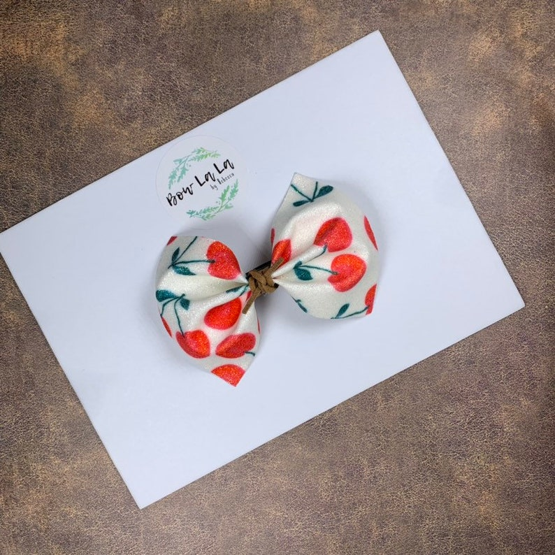 Cherry Shimmer Pinched Hair Bow