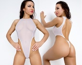Sexy sheer swimsuit See through lingerie Cute white high neck thong bodysuit Extreme cut leg monokini Erotic women one piece mesh swimwear