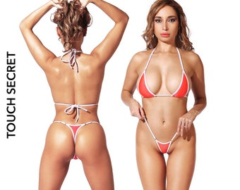 6a78aeb64ab Sexy Womens swimwear Thong Micro bikini set Erotic two piece swimsuit  Extreme bathing suit Cheeky brazilian string mini bottom panties